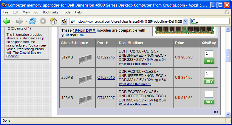 Screenshot of Crucial.com showing RAM prices in Firefox