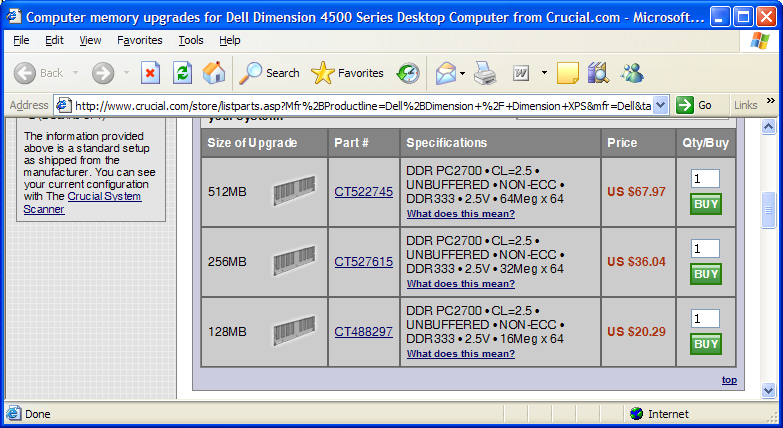 Screenshot of Crucial.com showing RAM prices in Internet Explorer