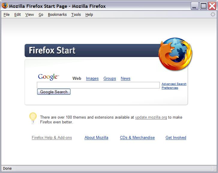Firefox 1.0 Google Start Page